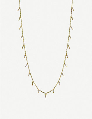THE ALKEMISTRY: Sydney Evan 14ct yellow gold and diamond fringe necklace