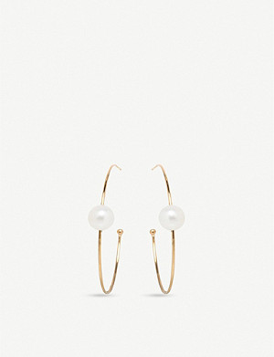 THE ALKEMISTRY Zo? Chicco 14ct yellow-gold and pearl hoop earrings