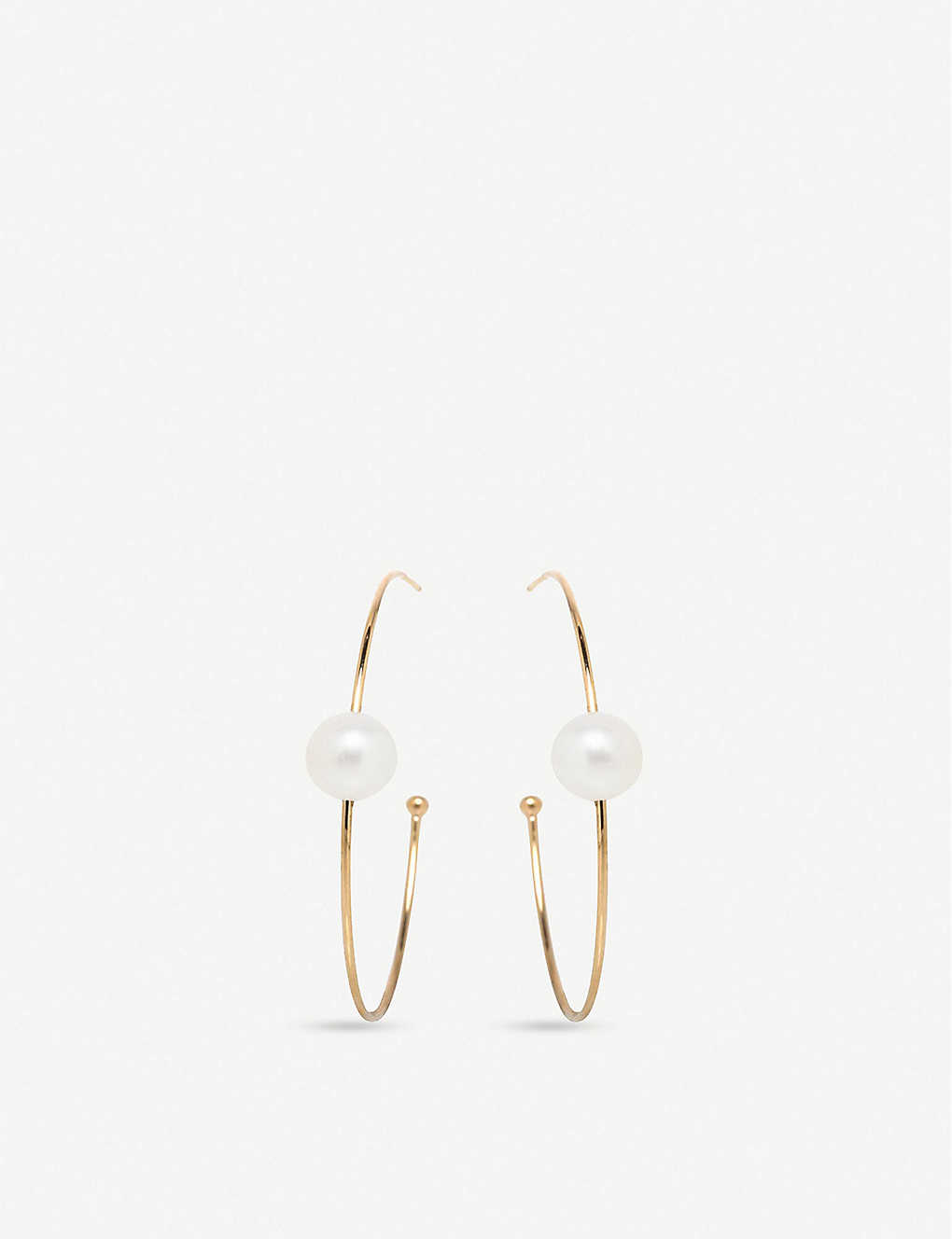 THE ALKEMISTRY: Zoë Chicco 14ct yellow-gold and pearl hoop earrings