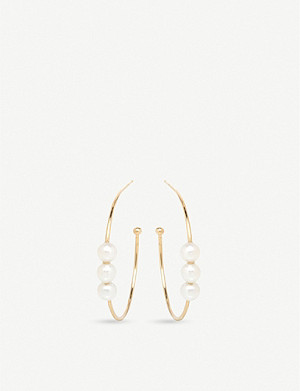 THE ALKEMISTRY Zoë Chicco 14ct yellow-gold and pearl hoop earrings