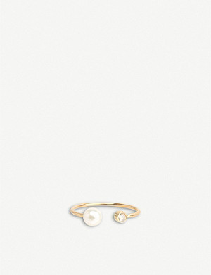 THE ALKEMISTRY Zoë Chicco 14ct yellow-gold, freshwater pearl and diamond open ring