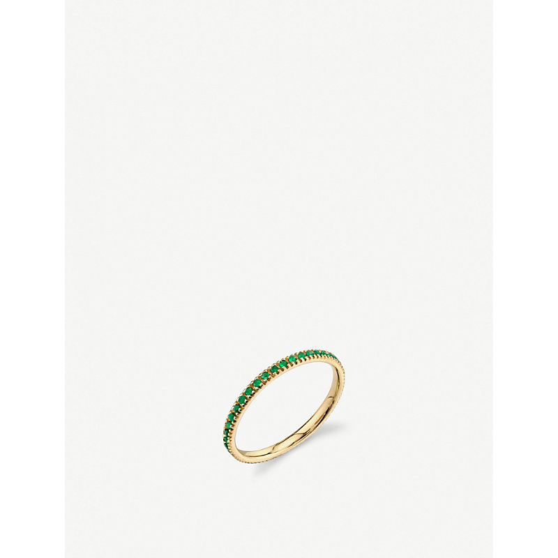 THE ALKEMISTRY   Sydney Evan 14ct Yellow Gold And Emerald Eternity Ring   Goxip