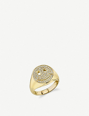 THE ALKEMISTRY Sydney Evan Smiley Face 18ct yellow-gold and diamond ring