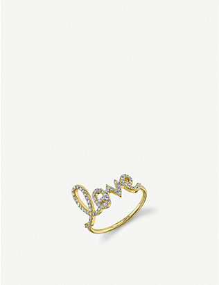 THE ALKEMISTRY: Sydney Evan large Love Script 14ct yellow gold and diamond ring
