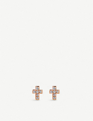 THE ALKEMISTRY Sydney Evan mini cross 14ct rose-gold and diamond earrings