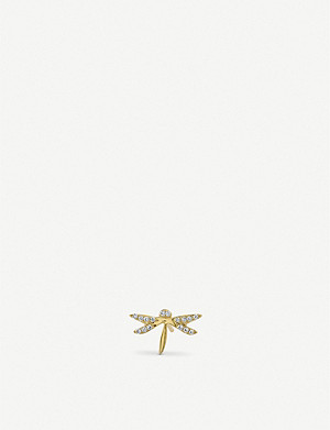 THE ALKEMISTRY Syndey Evan dragonfly 14ct yellow-gold and diamond earring
