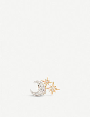 THE ALKEMISTRY: Sydney Evan 14ct yellow-gold and diamond Star Moon earring (Left)