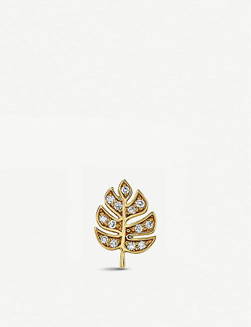 a31e289b793 THE ALKEMISTRY Sydney Evan 14ct yellow-gold and diamond monstera leaf single  earring right