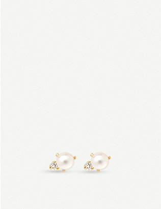 THE ALKEMISTRY: Zo? Chicco 14ct yellow-gold pearl and diamond earrings