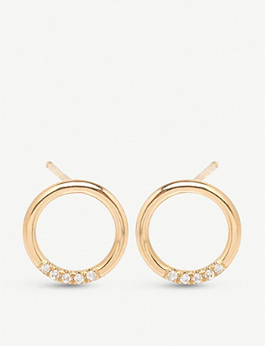 THE ALKEMISTRY Zoë Chicco 14ct yellow-gold and diamond hoop earrings
