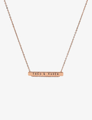 LITTLESMITH 13 characters rose gold-plated horizontal necklace