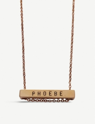 LITTLESMITH 5 characters rose gold-plated horizontal bar necklace