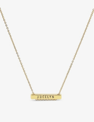 LITTLESMITH 9 characters gold-plated horizontal bar necklace