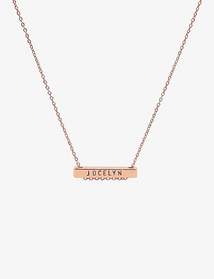 LITTLESMITH 9 characters rose gold-plated horizontal bar necklace