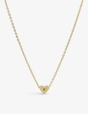 LITTLESMITH Silver-plated heart bead initial necklace