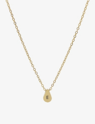 LITTLESMITH Initial gold-plated teardrop bead necklace