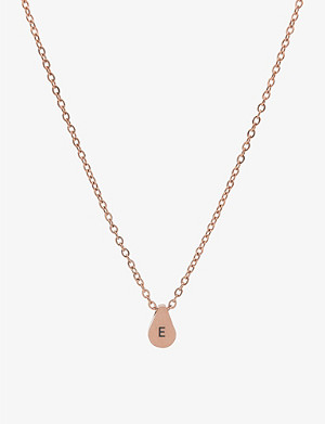 LITTLESMITH Initial rose gold-plated teardrop bead initial necklace