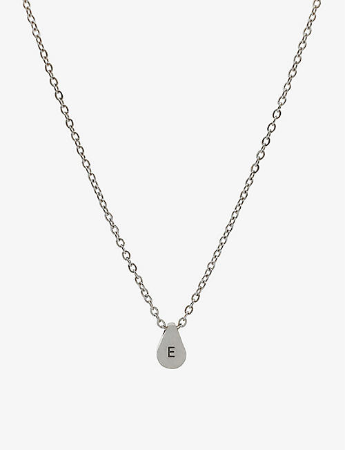 LITTLESMITH: Initial silver-plated teardrop bead necklace