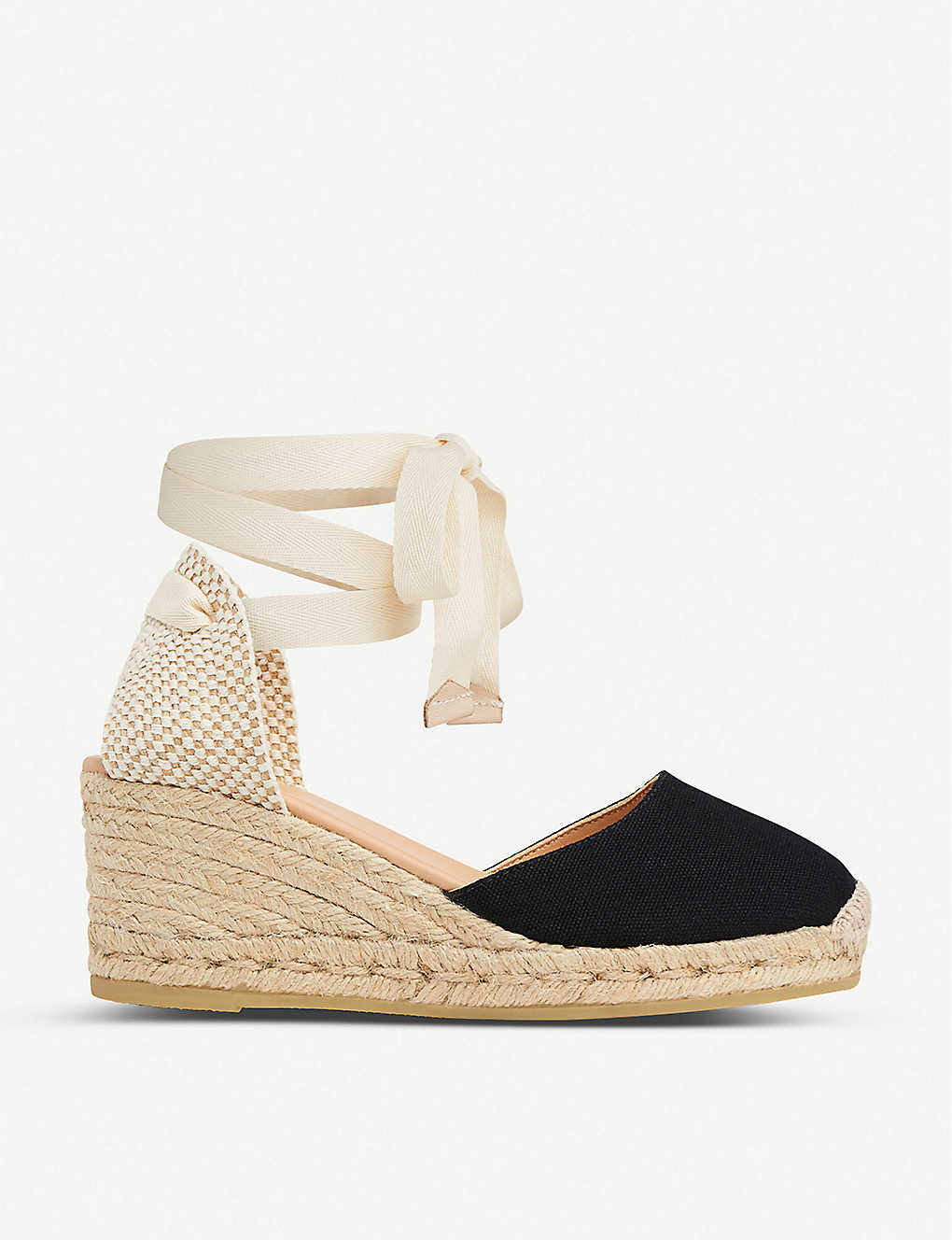 LK BENNETT: Maureene heeled canvas espadrilles