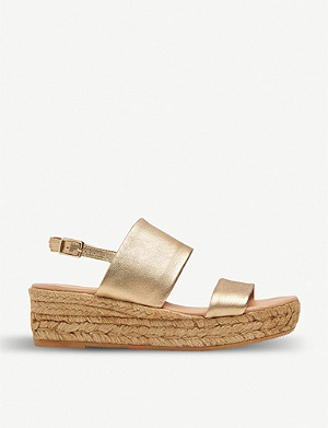 LK BENNETT Cona metallic-leather espadrille sandals