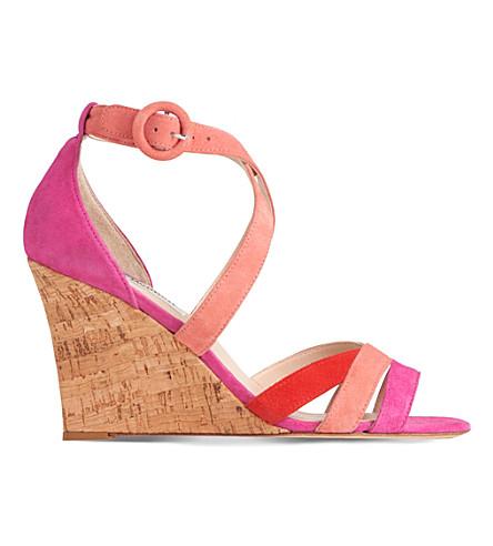 29652fbc7be LK BENNETT Katie suede wedge sandals (Mul-fuchsia