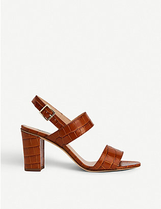 LK BENNETT: Rhiannon crocodile-embossed leather heeled sandals