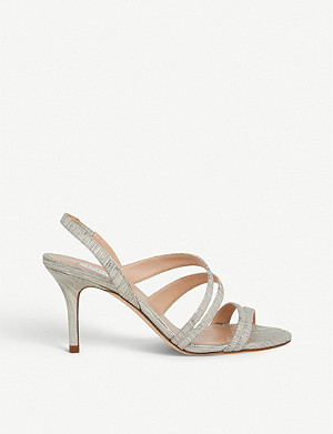 LK BENNETT Valeria lizard-embossed metallic-leather heeled sandals