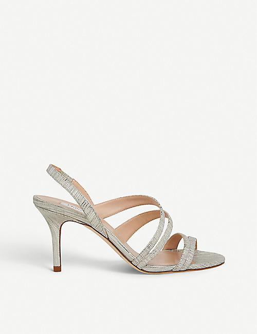 a99829b42f LK BENNETT Valeria lizard-embossed metallic-leather heeled sandals