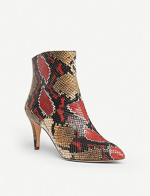 LK BENNETT Bethan snake-print leather heeled ankle boots