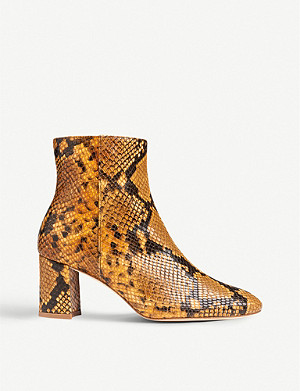 LK BENNETT Jette snakeskin-embossed leather ankle boots