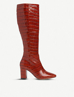 LK BENNETT Sirena crocodile-embossed leather knee-high boots