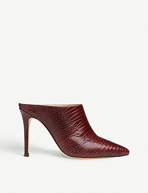 LK BENNETT Hannah lizard-embossed leather heeled mules