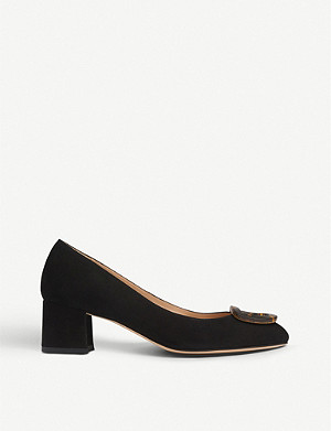LK BENNETT Nimah tortoiseshell buckle suede court shoes