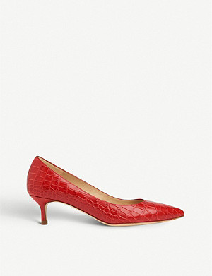 LK BENNETT Audrey crocodile-embossed leather courts