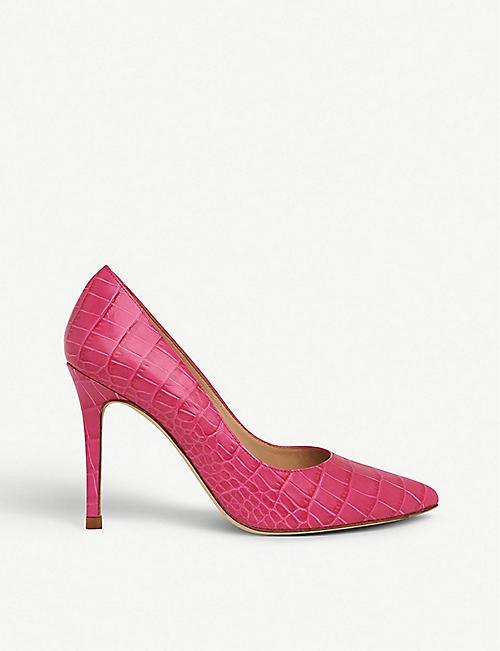 e49769552295b9 LK BENNETT Fern croc-embossed leather court shoes