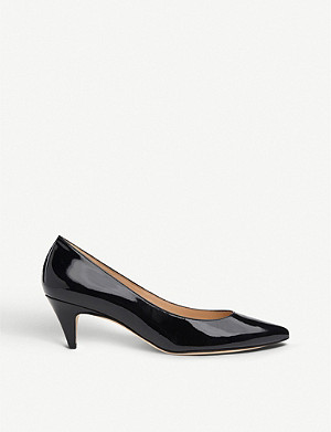LK BENNETT Pawla patent leather kitten heel courts