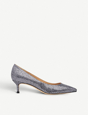 LK BENNETT Audrey lurex and leather kitten heel courts