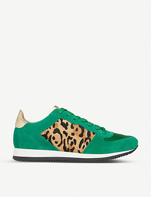 LK BENNETT Ricky leopard-print suede and calf-hair trainers
