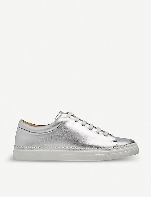 LK BENNETT Jana scalloped metallic leather trainers
