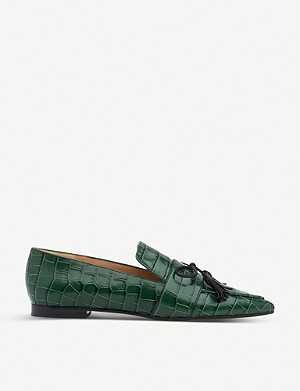 LK BENNETT Celina croc-embossed patent-leather flats