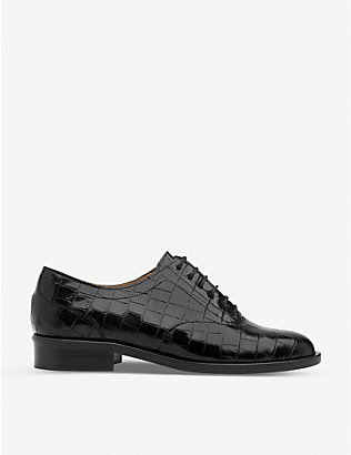 LK BENNETT: Jamie mock-croc patent leather oxford shoes