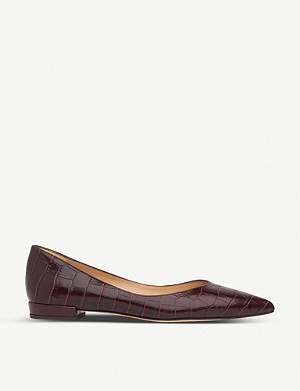 LK BENNETT Harlow croc-embossed leather flats