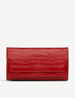 LK BENNETT Ella leather croc-embossed clutch