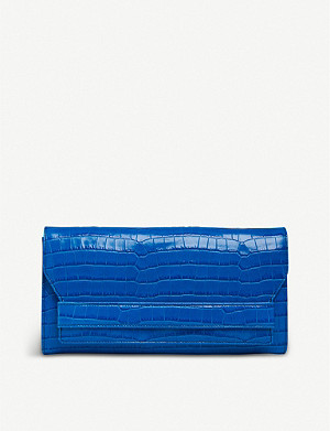LK BENNETT Ella crocodile-embossed leather clutch