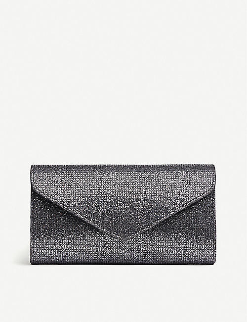 LK BENNETT Lucia metallic lurex mesh envelope clutch bag