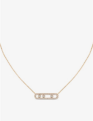 MESSIKA: Move Pavé 18ct pink-gold and diamond necklace
