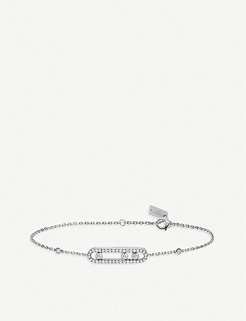 MESSIKA: Baby Move 18ct white-gold and pave diamond bracelet