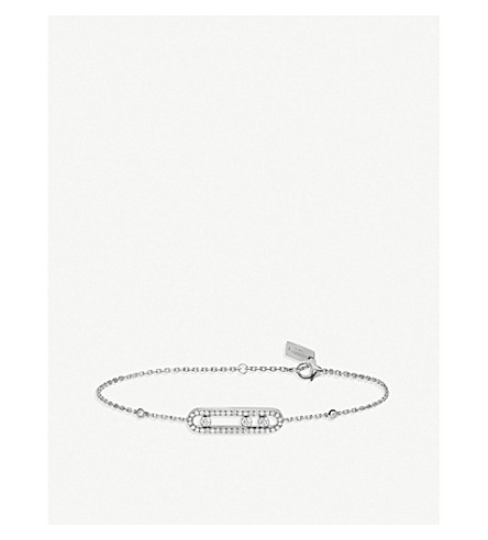 Messika BABY MOVE 18CT WHITE-GOLD AND PAVE DIAMOND BRACELET