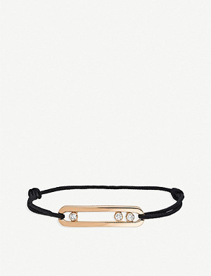 MESSIKA Move 18ct rose-gold, diamond and cord bracelet
