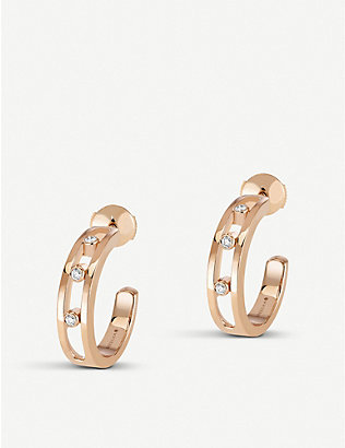 MESSIKA: Move 18ct rose-gold and diamond hoop earrings